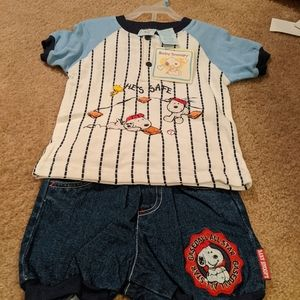 Baseball Snoopy short set